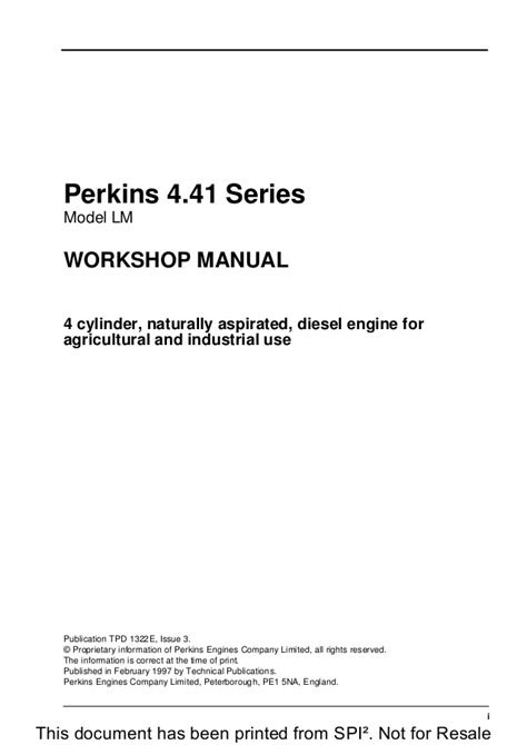 PERKINS 4.41 SERIES LM DIESEL ENGINE Service Repair Manual