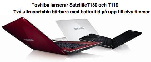 Toshiba lanserar Satellite T130 & T110 - batteritid på upp till elva timmar