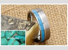 Turquoise Inlaid Tungsten Wedding Band, Unique Tungsten Carbide Wedding Ring Band with Brushed