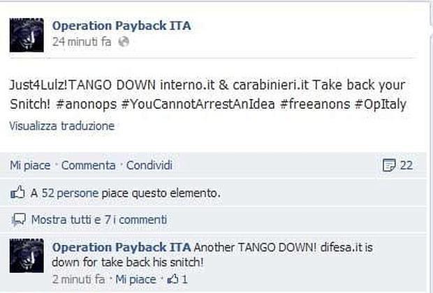 La schermata di una delle pagine Facebook degli Anonymous