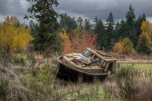 A Haunting Beauty - Abandoned Boat in a Farmers Field - Toad Hollow Photography