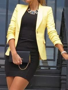 Office Fashion Trend - yellow blazer, black dress, statement necklace
