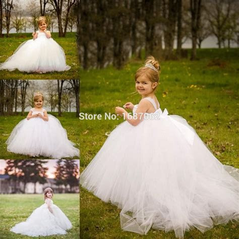 Miniature Bride White Flower Girl Dresses with Detachable