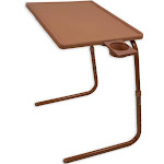 Portable Foldable Comfortable TV Tray Table - Laptop, Eating, Drawing Tray Table Stand - Adjustable Tray - Sliding Adjustable Cup Holder - Brown
