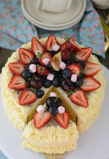 Butter Cake with Fresh Cream and Summer Fruits