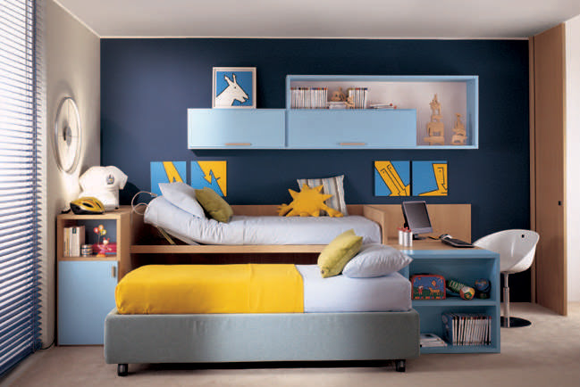 Royal Blue Wall Color Kids Room with Yellow Bed Cover - Interior ...