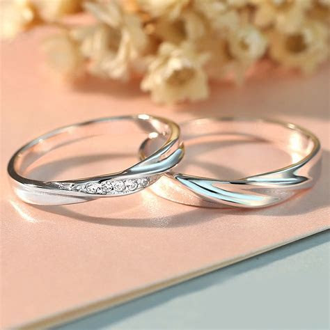 Simple Wave Promise Rings for Couples, 925 Sterling Silver