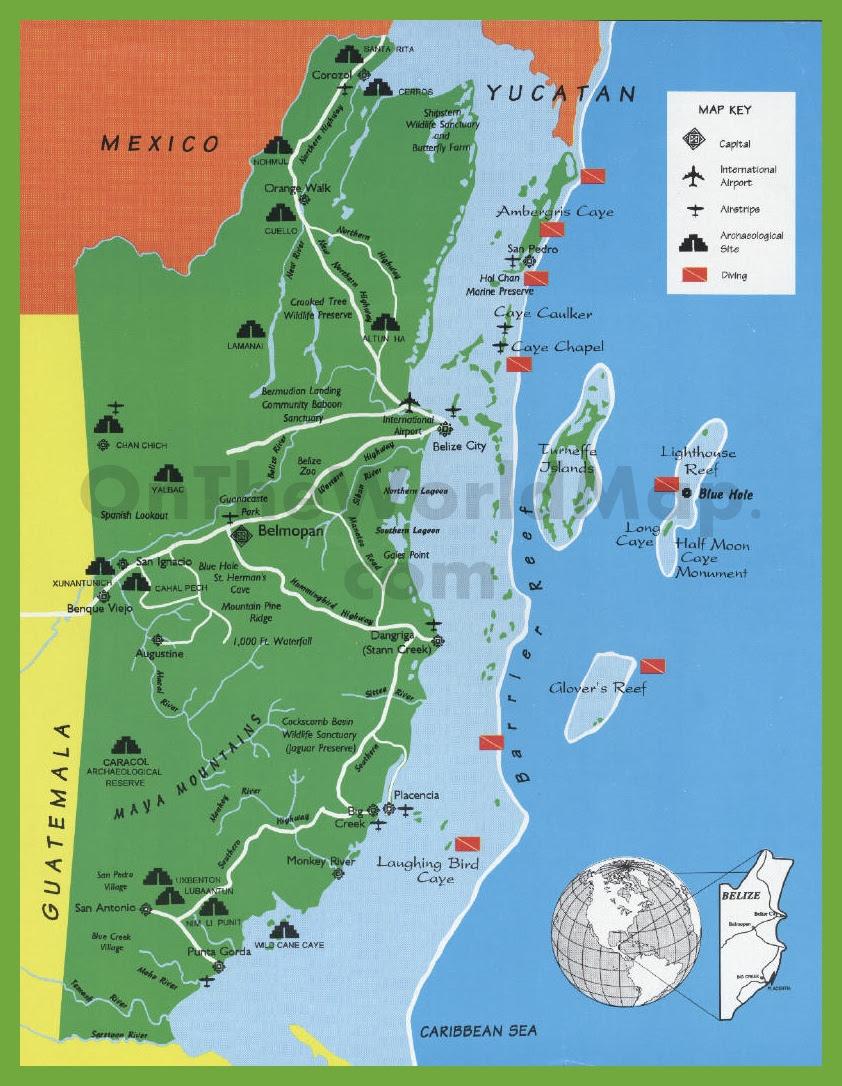 Belize tourist map w