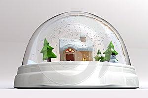 A 3D render of a snowglobe