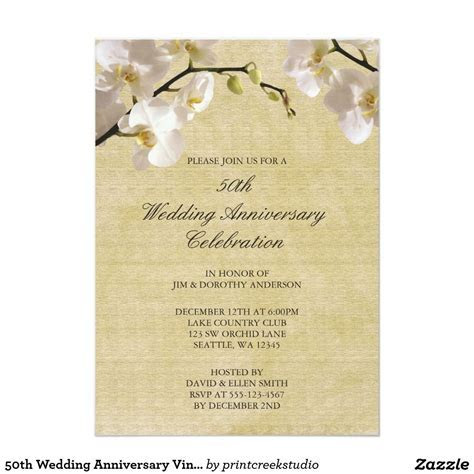 """50th Wedding Anniversary Vintage White Orchid 5"""" X 7"""