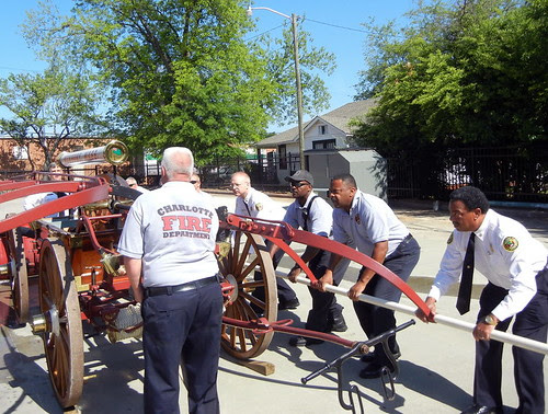 CFD Takes Delivery of 1866 Hand Pumper by charlottefire