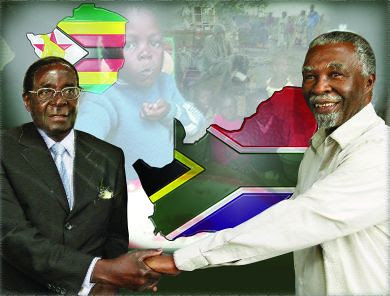 President Robert Mugabe of Zimbabwe and former South African President Thabo Mbeki of South Africa. The ruling ANC has refused to denounce Zimbabwe amid mounting pressure from the imperialist countries. Mbeki delivered a major address on Africa Day 2010. by Pan-African News Wire File Photos