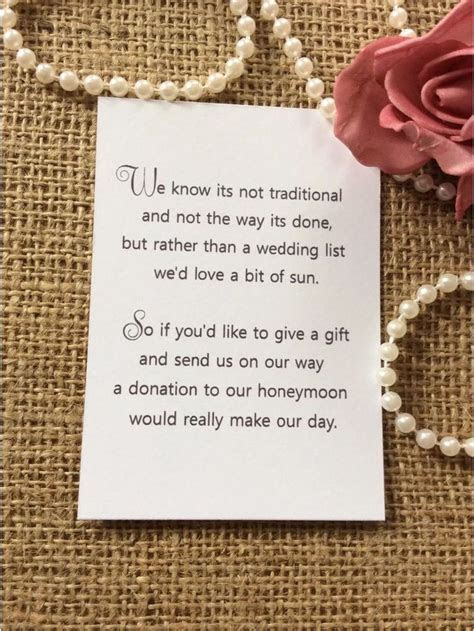 25 /50 WEDDING GIFT MONEY POEM SMALL CARDS ASKING FOR