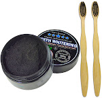 Charcoal Teeth Whitening Powder, Natural Activated Charcoal Coconut Shells + 2 Bamboo Toothbrushes
