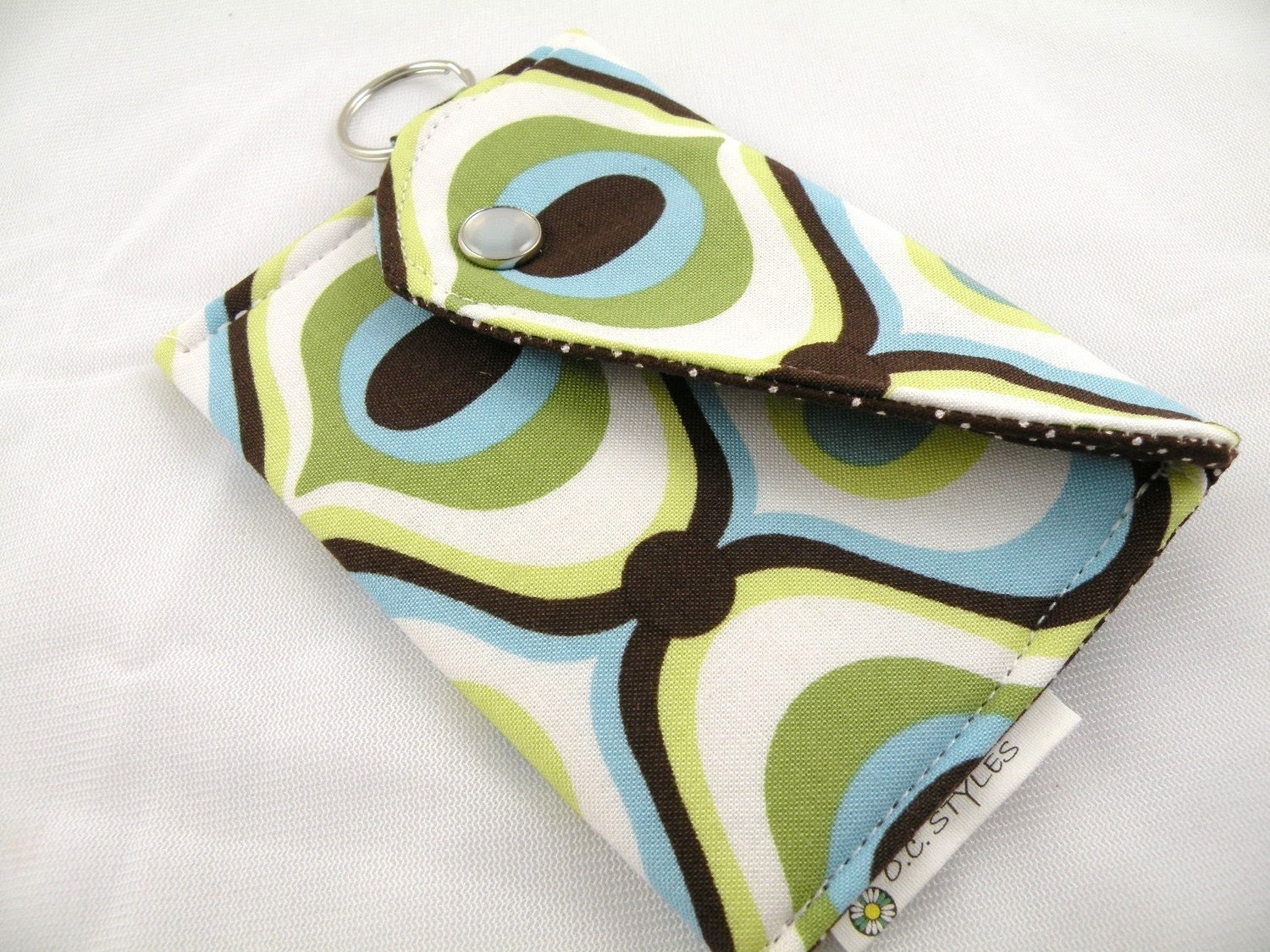 BUSINESS CARD HOLDER/COIN PURSE/CARD HOLDER with KEY RING--Feeling Groovy--Aqua/Brown/Lime--Cotton