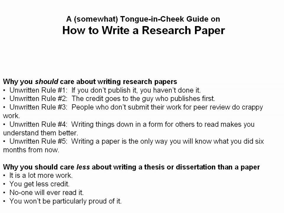 how to write college research paper