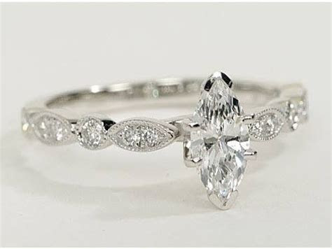 Milgrain Marquise and Dot Diamond Engagement Ring in 14k