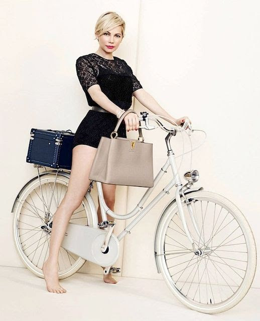 Le Fashion Blog Michelle Williams Louis Vuitton SS 2014 Campaign Bike Shorts Romper Crochet Black Jumpsuit Blue luggage Trunk Tan Taupe Small Top Handle Bag Short Blonde Hair Haircut Photographer Peter Lindbergh 8 photo Le-Fashion-Blog-Michelle-Williams-Louis-Vuitton-SS-2014-Campaign-Bike-8.jpg