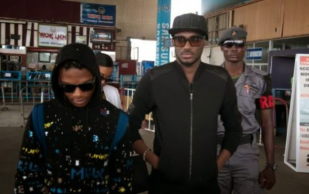 2Face Idibia And Wizkid Land In Ghana For Their Concert [See Photo]