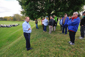 Dr. Shiels, Director of the Newark Earthworks Center,  giving a tour at the October 2014 Octagon Open House. Image Courtesy of the Ohio State University Newark.