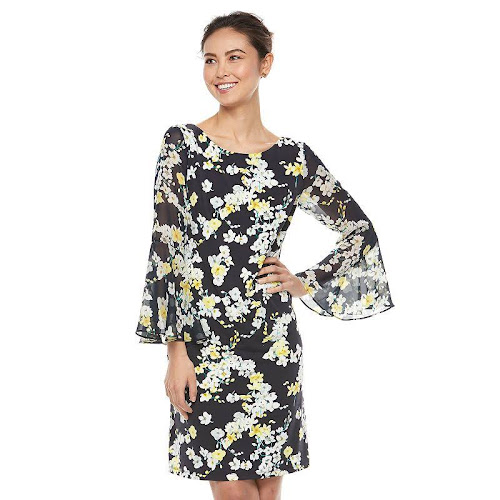 e6cfb7540eced Jessica Howard Floral-Print Bell-Sleeve Shift Dress - Blue 16 ...