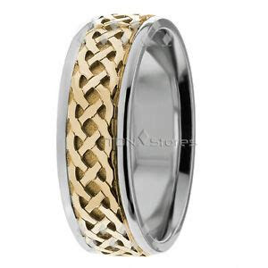 18K Solid Gold Two Tone Celtic Wedding Bands Rings Mens