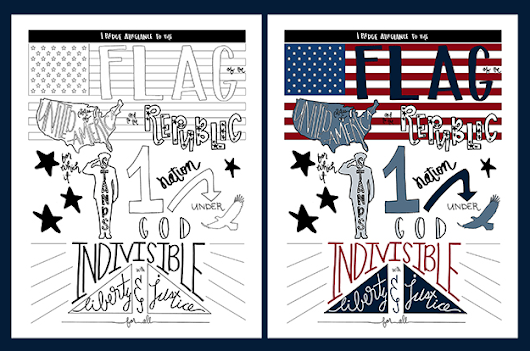 PLEDGE OF ALLEGIANCE Coloring Page Printable