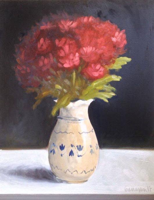 Redish Chrysanthemums in White Vase Flower Still Life Oil Painting (2016) Oil painting by Caridad I. Barragan