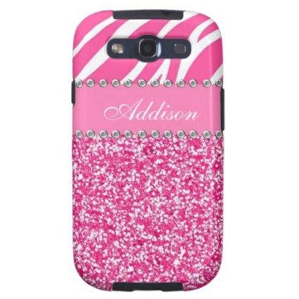 Hot Pink Glitter Zebra Print Rhinestone Girly Case Samsung Galaxy S3 Cases