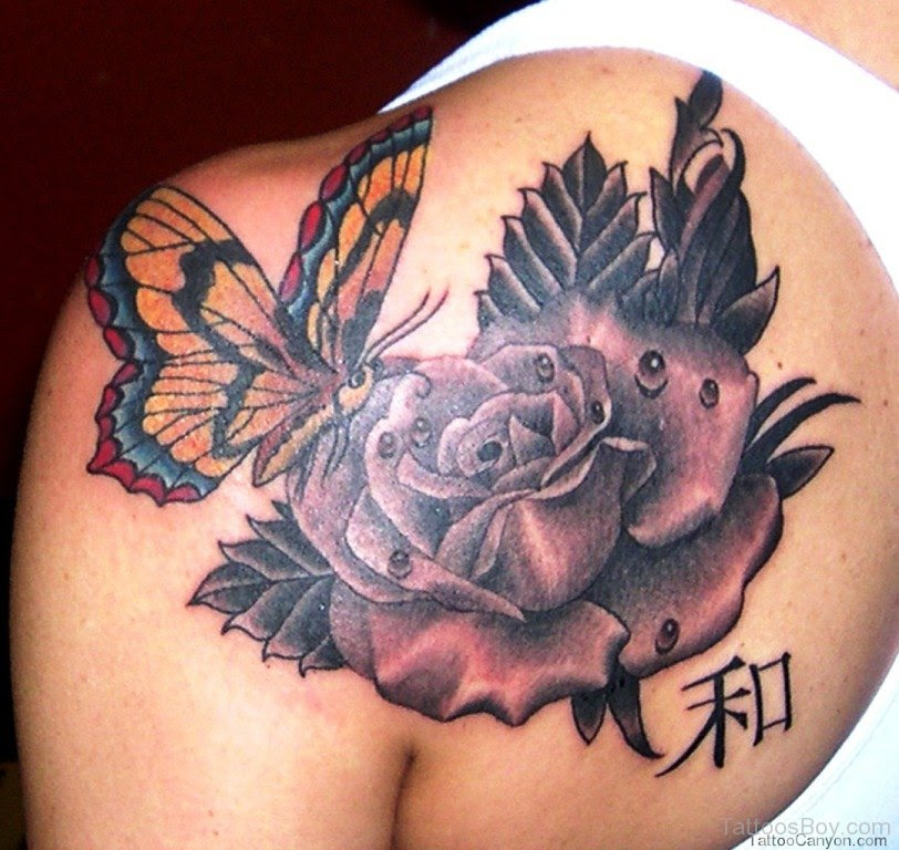 Rose And Butterfly Tattoo On Back Tattoo Designs Tattoo Pictures