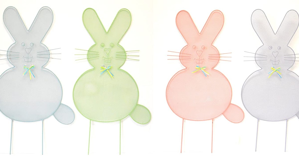 EASTER BUNNY STAKES PAIR 2 EASTER YARD PATHWAY STAKES