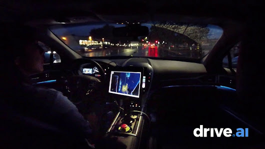 drive.ai Rainy Night Autonomous Drive - YouTube