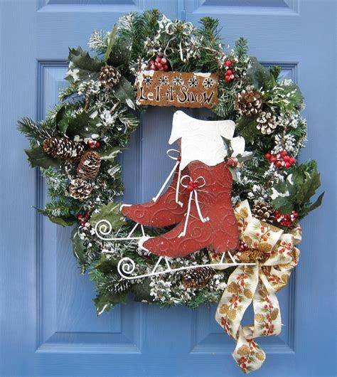 Ice Skates Front Door Wreath Christmas Holiday Wall