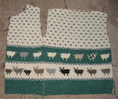 Front and back of sweater pinned together.