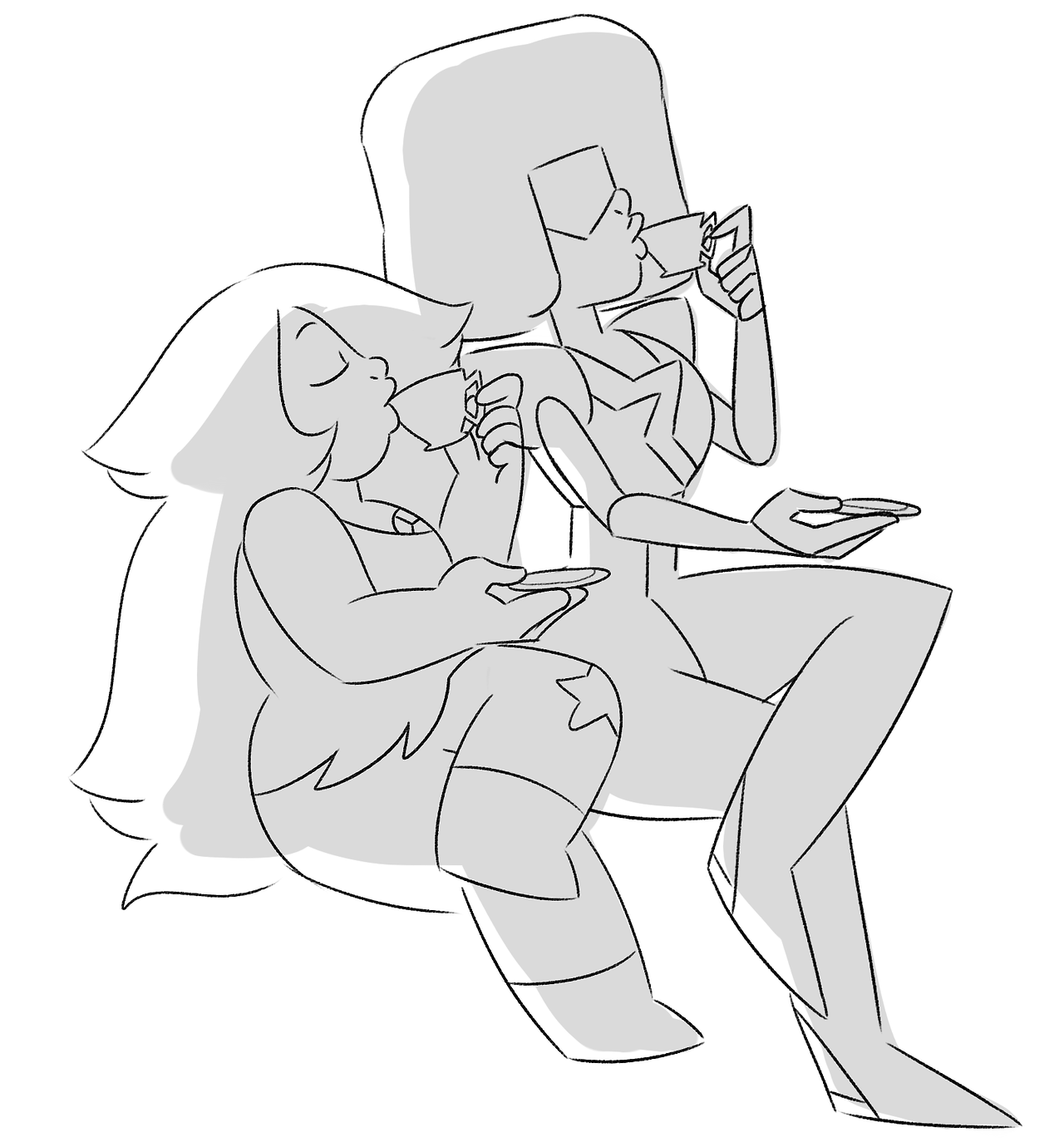 gamethyst bomb day 1: peacetime just a simple sketch of some gals enjoying some tea together :>