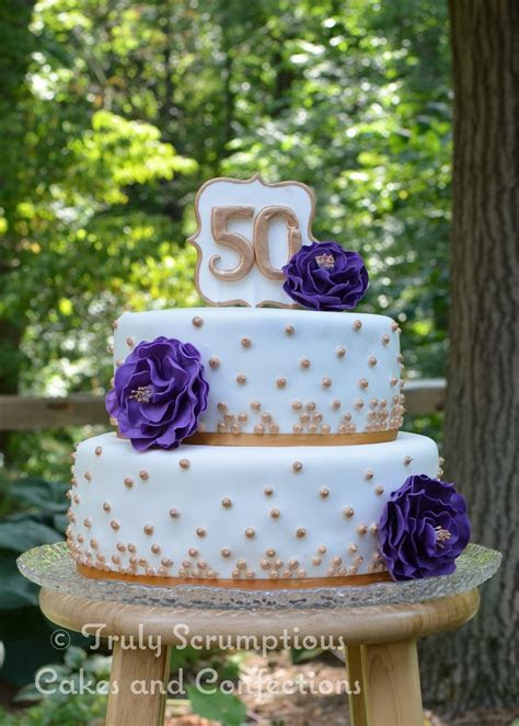 Golden Anniversary Cake With Purple Flowers   CakeCentral.com
