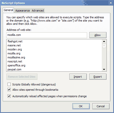 NoScript JavaScript permissions dialog