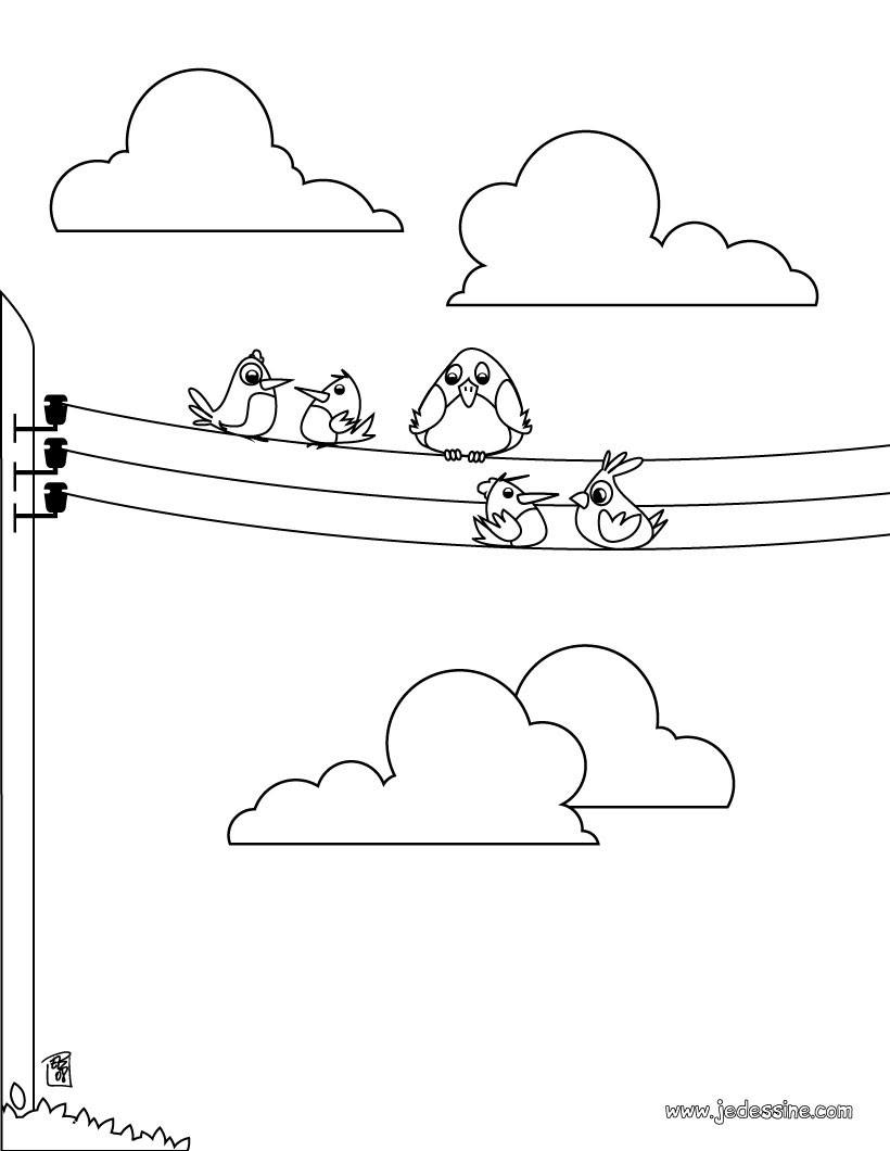 Coloriage d oiseaux sur des fils electriques