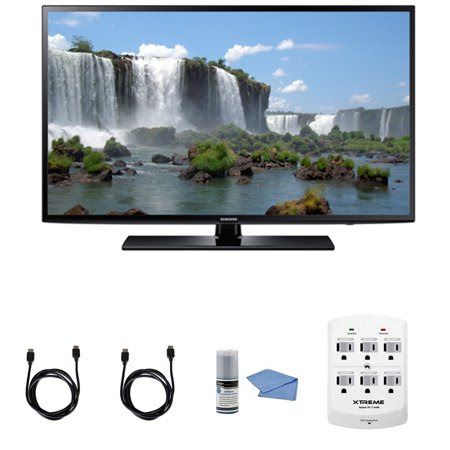 Samsung UN50J6200 - 50-Inch Full HD 1080p 120hz Smart LED HDTV + Hookup Kit - Includes TV, HDMI to HDMI Cable 6', 6 Outlet Wall Tap Surge Protector with Dual 2.1A USB Ports and Cleaning Kit