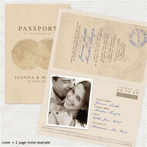 antique chic travel passport wedding invitation or
