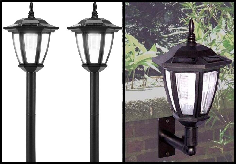Outdoor Solar Lights Post Landscape or Wall Mount LED Garden Solar Lights 8 Pack  eBay