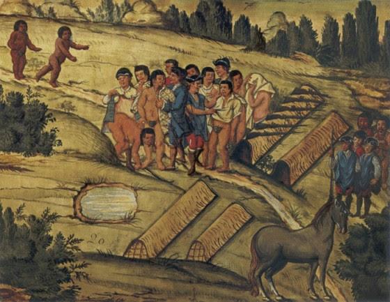 Kaingangs eram milhares, vivendo entre SP e RS. Escravização e roubo de terras começaram no século XVI, com igreja e bandeirantes escravizaçIgreja e bandeirantes começaram a