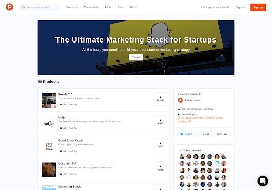 The Ultimate Marketing Stack for Startups - Product Hunt