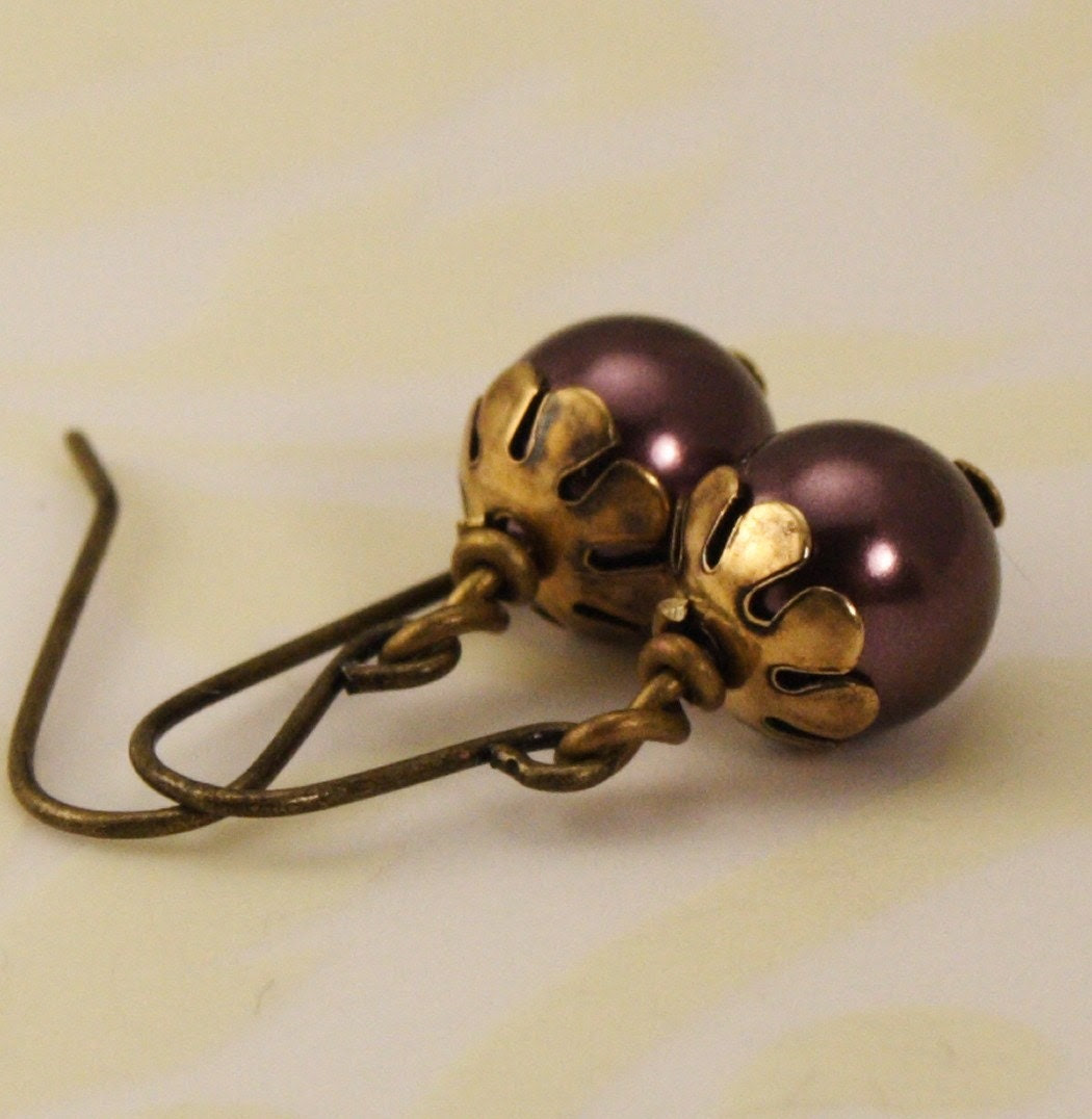 Pearl Earrings - Antique Gold and Burgundy - Great Gift