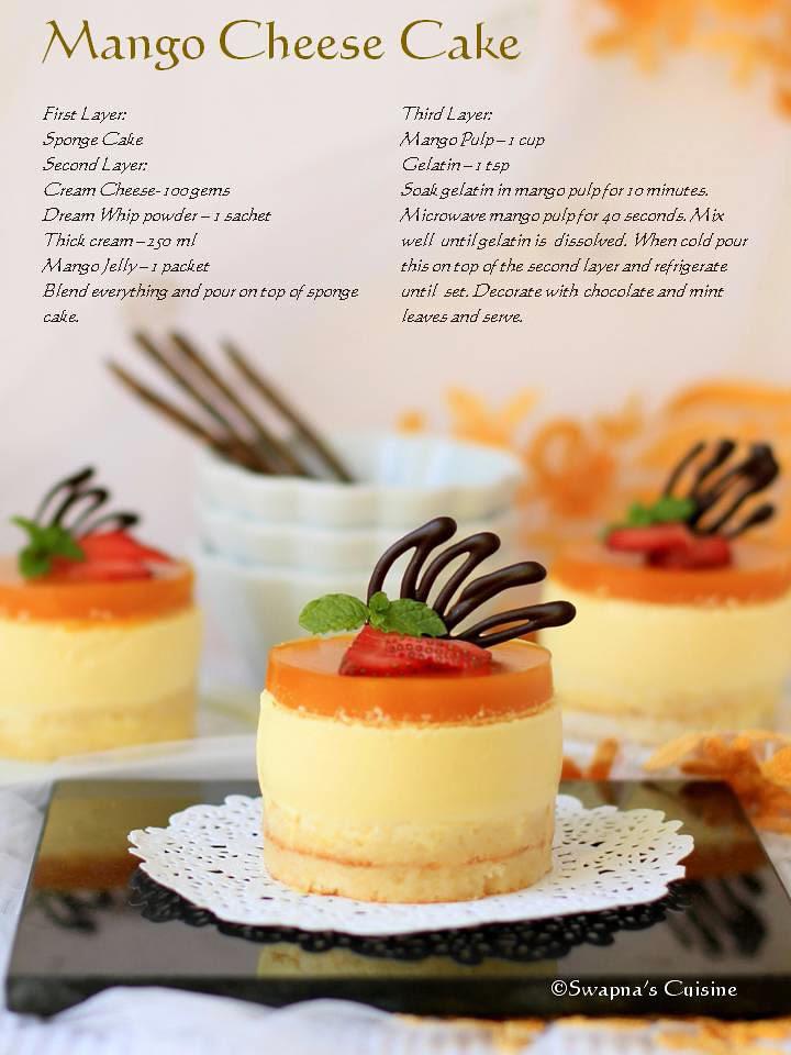 Mango Cheese Cake Recipe Card