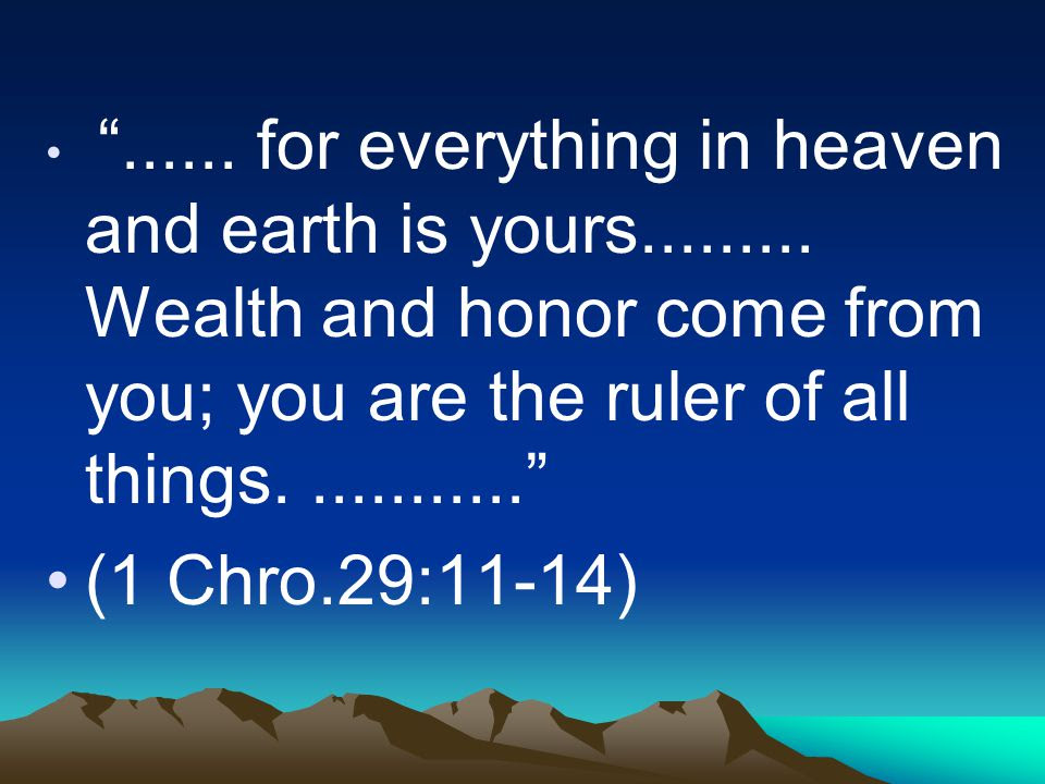 Image result for 1 Chronicles 29:14-16