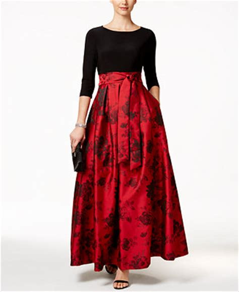 jessica howard floral print belted ball gown dresses