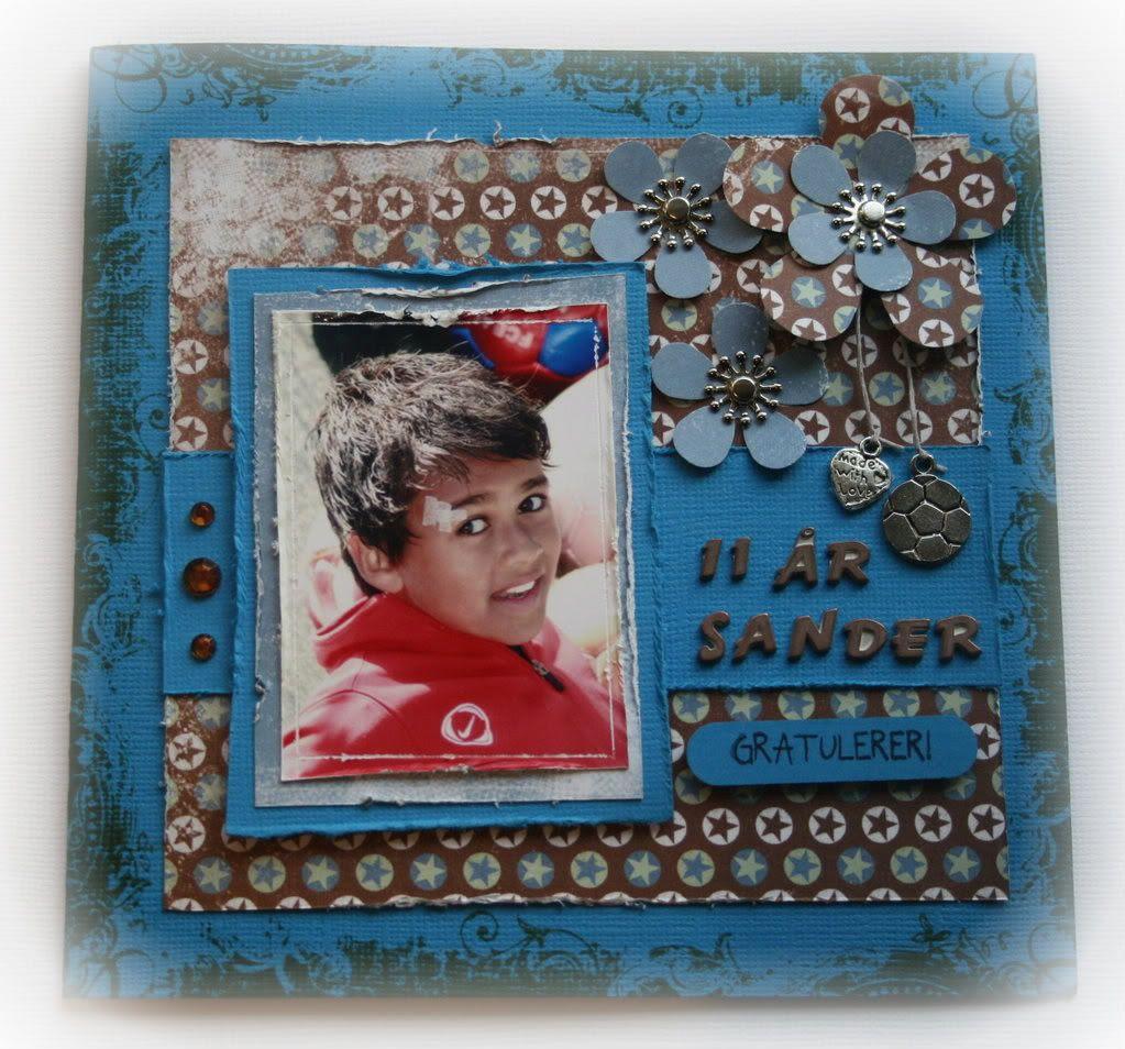Forsiden av kortet til Sander, 11 år