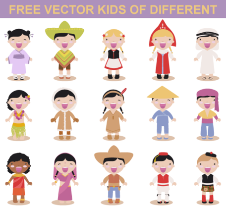 Free Vector Kids Different Races, vector graphics - Clipart.me