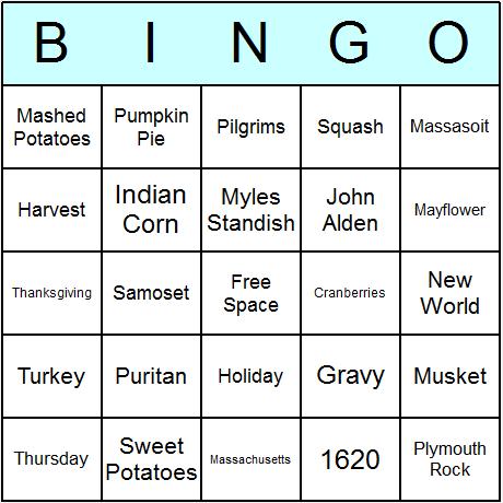 Thanksgiving Bingo Cards - Printable bingo activity, game, and ...